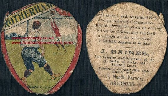 1910 Rotherham Bainies card poor but rare